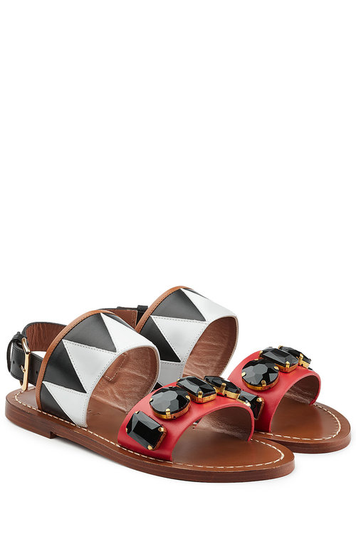 Marni Embellished Leather Sandals In Multicolored