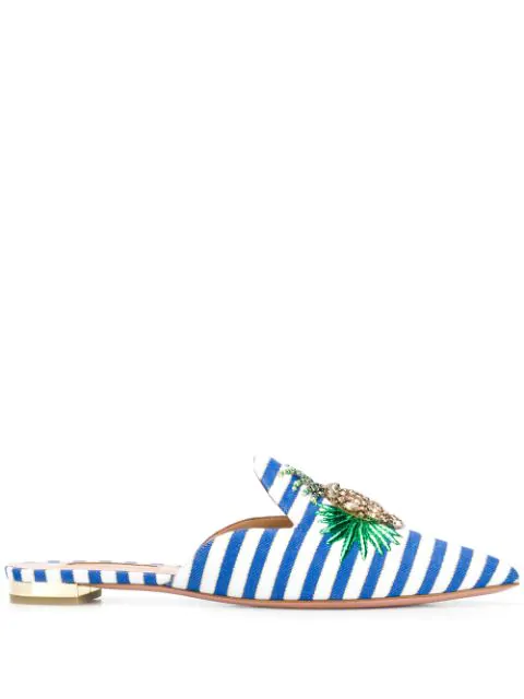Aquazzura Pineapple Crystal-Embellished Striped Mules In Blue