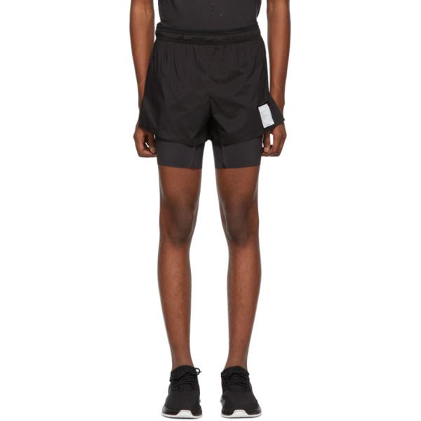 Satisfy 'short Distance' Slogan Print Compression Underlay Running Shorts In Black Silk