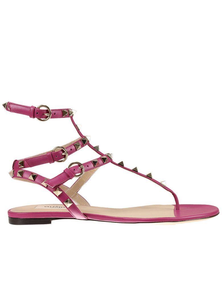 Valentino Garavani Flat Sandals Flat Sandal With Triple Side Buckle And Micro Studs In Cyclamen