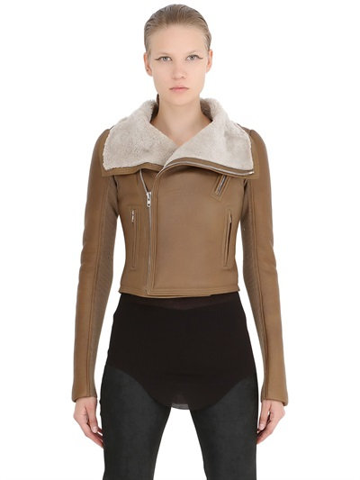 Rick Owens Classic Shearling Moto Jacket In Brown