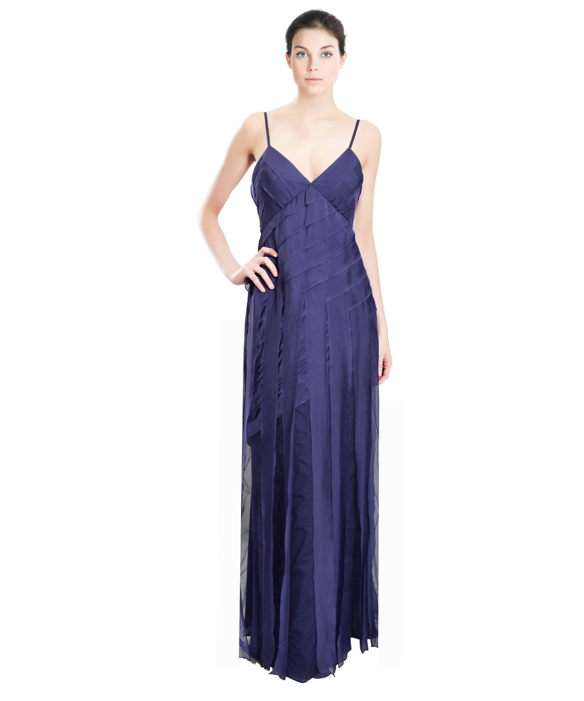 Emanuel Ungaro Cascading Ribbon Gown In Blue