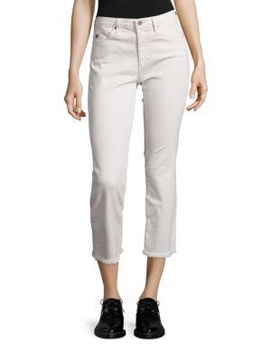 Ag Jodi High-rise Raw Hem Cropped Flared Jeans In True Ecru