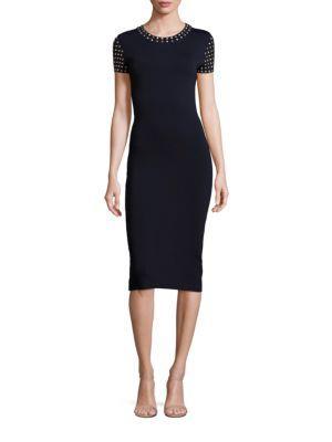 Michael Michael Kors Triangle-studded Flutter-sleeve Dress In Black