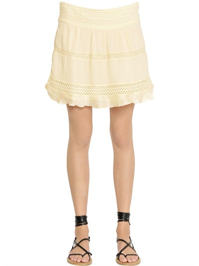 Isabel Marant Cotton Voile & Crocheted Lace Skirt In Beige