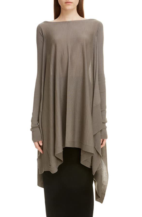 Rick Owens Wool Poncho Sweater In Brown