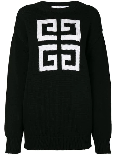 Givenchy Pullover Mit Intarsien-logo In Black