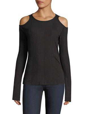 Frame Variegated-rib Cold-shoulder Long-sleeve Top, White In Noir