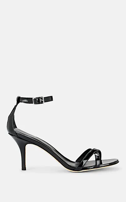Barneys New York Patent Leather Ankle-Strap Sandals In Black