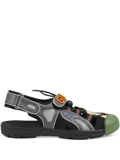 Gucci Logo-Detailed Rubber, Leather And Mesh Sandals In Black
