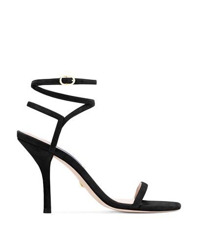 Stuart Weitzman 'merinda' Crisscross Ankle Strap Suede Sandals In Black Suede