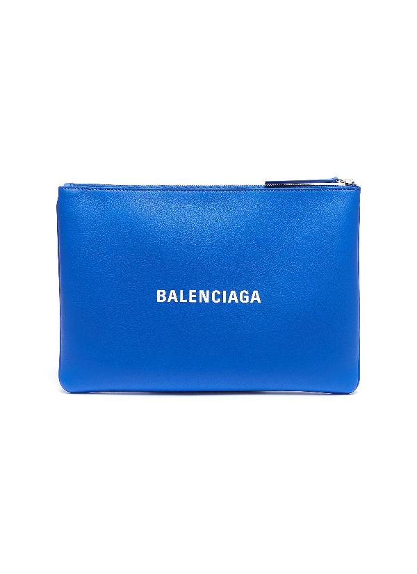 Balenciaga 'Everyday' Logo Print Medium Leather Pouch In Blue