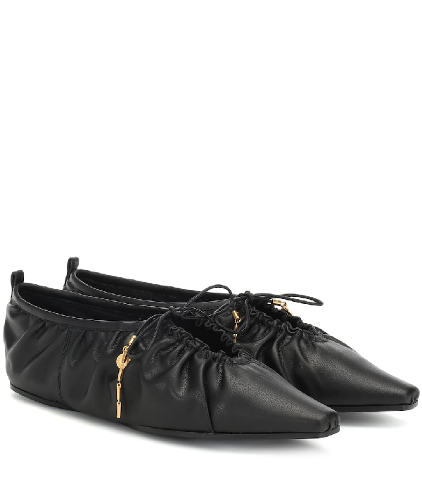 Stella Mccartney Lace-Up Ruched Faux Leather Flats In Black