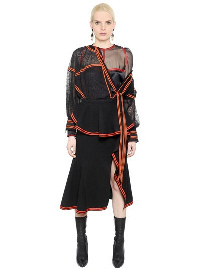 Givenchy Lace Shirt With Contrasting Color Trim In Black/Orange