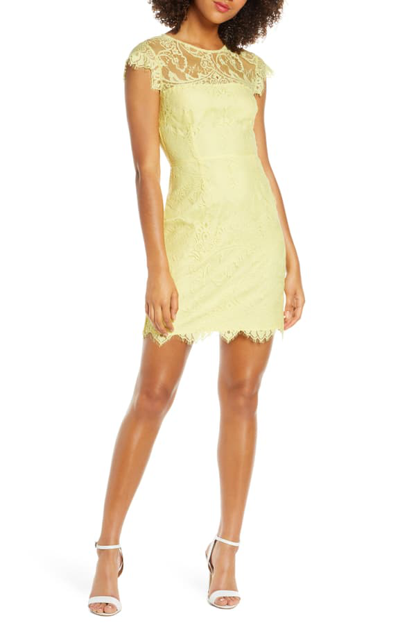 Jayce Lace Sheath Cocktail Dress In Citrus