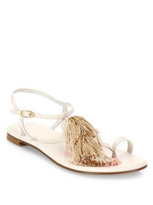 Stuart Weitzman Jabow Tassel Trim Nappa Leather Ankle Strap Sandals In Ivory