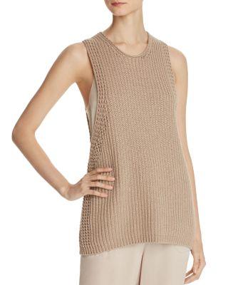 Vince Cotton Waffle-stitch Sweater Tank Top, Khaki