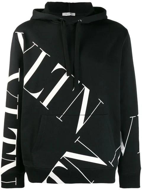 Valentino Black And White Cotton Vltn Sweatshirt With Hood In 0ninero/vl