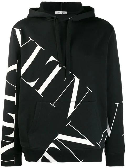 Valentino Black And White Cotton Vltn Sweatshirt With Hood In 0Ni Black