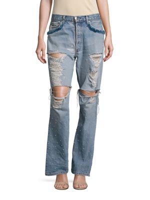 Jonathan Simkhai Distressed Studded Straight-leg Boyfriend Jeans In Blue
