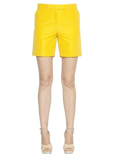Rochas Silk Faille Shorts In Yellow