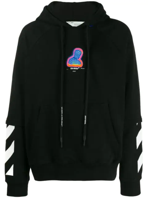 Off-White Hooded Thermo Men Sweatshirt In Black In 1088 Black Multicolor