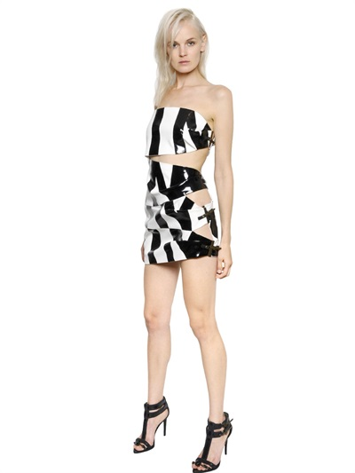 Anthony Vaccarello Strapless Coated Crepe Dress In White/Black