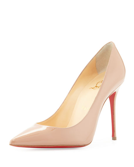 Christian Louboutin Corneille Asymmetric Patent Red Sole Pumps In Beige