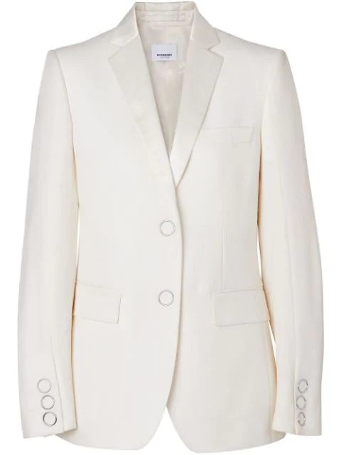 Burberry Silk Trim Press-Stud Wool Tailored Jacket In Neutrals