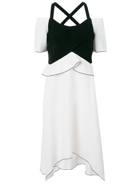 Proenza Schouler Ruffle Off-shoulder Bonded Crepe Dress In Multicoloured