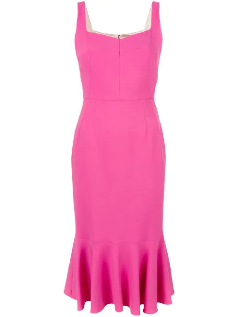 Dolce & Gabbana Sleeveless Flounced Cady Cocktail Dress, Pink, Bright Pink In Rose Piek