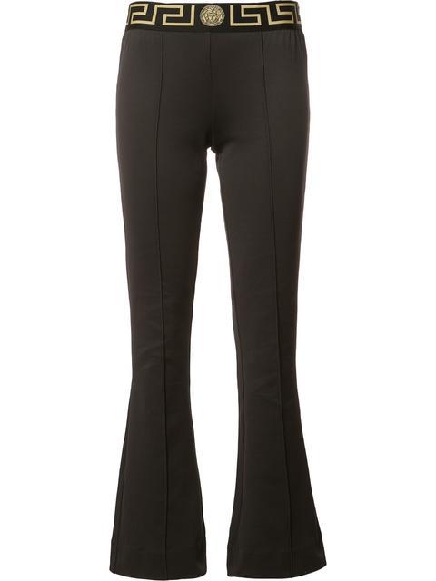 Versace Greek Key Waistband Flared Leggings In Black