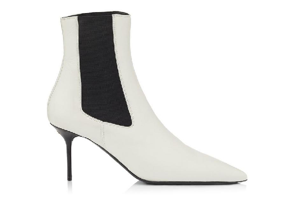 Tom Ford Two-tone Gored Leather Booties In Chalk