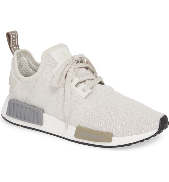 the latest 86727 ba784 Women's Nmd R1 Knit Low-Top Sneakers in Raw White/ Raw White/ Black