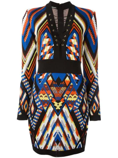 Balmain Lace-up Neck Long Sleeve Knit Dress In Multicolour