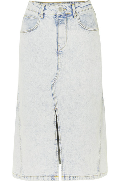 Maje Jarta Denim Midi Skirt In Light Denim