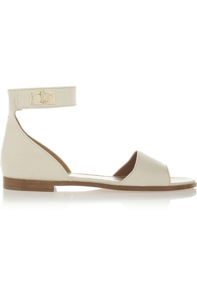 Givenchy Woman Shark Lock Textured-Leather Sandals Ecru In White