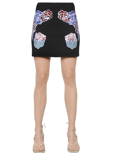 Stella Mccartney Embroidered Stretch Cady Mini Skirt In Black