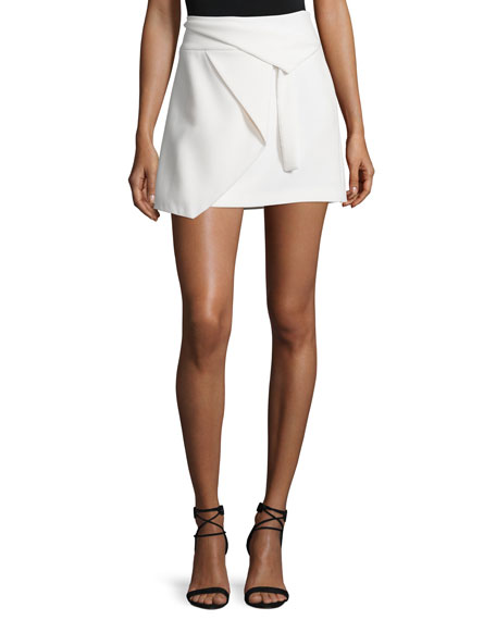 Halston Heritage Asymmetric Draped Wrap Skirt, Chalk