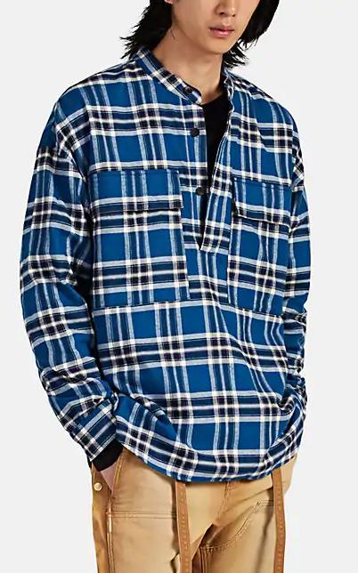 Fear Of God Chest Pocket Tartan Plaid Flannel Henley Shirt In Blue