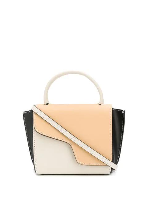 Atp Atelier Montalcino' Colourblock Mini Top Handle Leather Bag In Neutrals