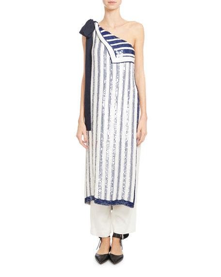 Monse Sequin-striped Chiffon One-shoulder Top, White/blue
