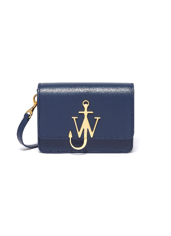 Jw Anderson 'logo' Plate Mini Leather Crossbody Bag In Navy