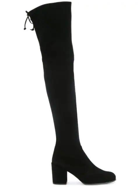 Stuart Weitzman 'Tieland' Stretch Suede Thigh High Boots In Black