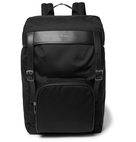 Saint Laurent Moon Leather-Trimmed Canvas Backpack In Black