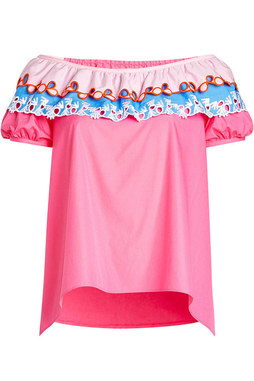 Peter Pilotto Off-the-shoulder Cotton Top In Pink & Purple