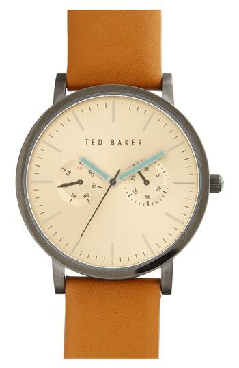 Ted Baker Multifunction Leather Strap Watch, 40mm In Tan/ Gold