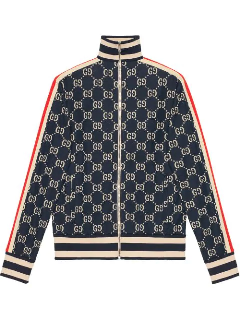 Gucci Striped Logo-Intarsia Cotton Track Jacket In Navy