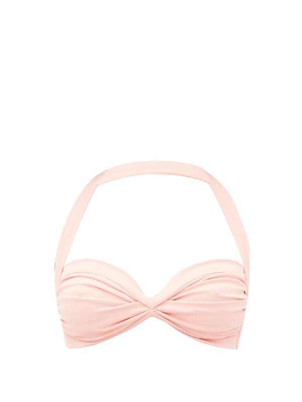 Norma Kamali Bill Ruched Halterneck Bikini Top In Pink