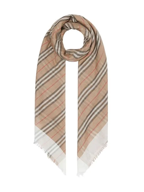 Burberry Check And Icon-stripe Wool And Silk-gauze Scarf In Neutrals
